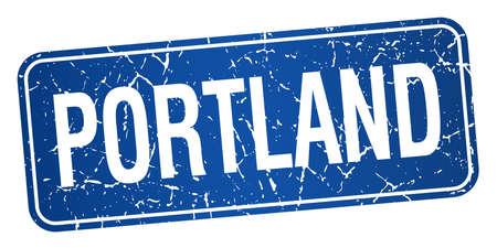 portland: Portland blue stamp isolated on white background Illustration