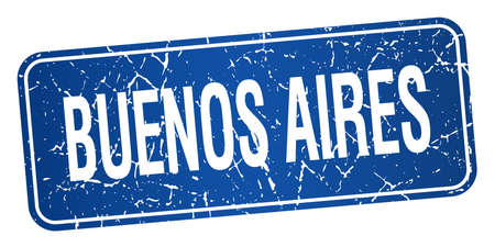 aires: Buenos Aires blue stamp isolated on white background
