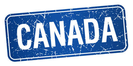 canada stamp: Canada blue stamp isolated on white background