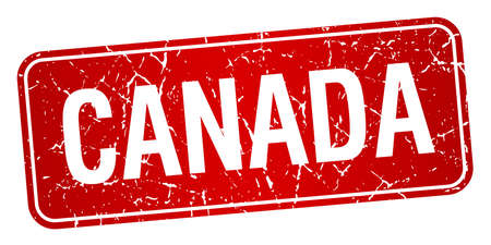 canada stamp: Canada red stamp isolated on white background