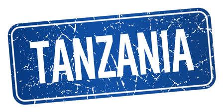 tanzania: Tanzania blue stamp isolated on white background