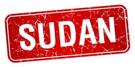 sudan: Sudan red stamp isolated on white background