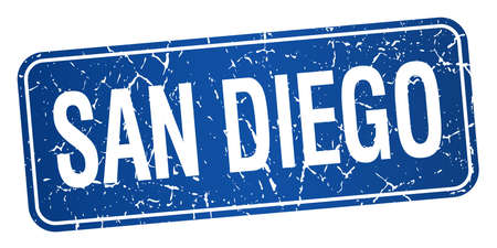 san diego: San Diego blue stamp isolated on white background