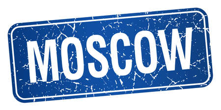 moscow: Moscow blue stamp isolated on white background