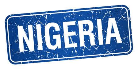 nigeria: Nigeria blue stamp isolated on white background Illustration