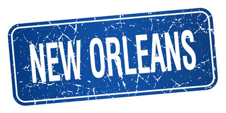 new orleans: New Orleans blue stamp isolated on white background