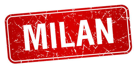 milan: Milan red stamp isolated on white background