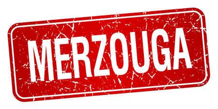 merzouga: Merzouga red stamp isolated on white background Illustration