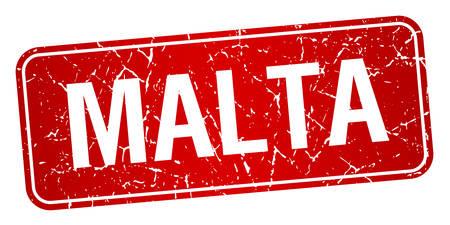 malta: Malta red stamp isolated on white background