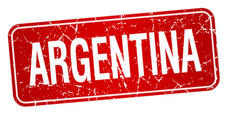 red stamp: Argentina red stamp isolated on white background