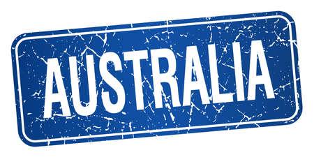 australia stamp: Australia blue stamp isolated on white background