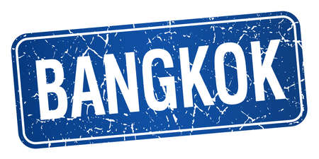 bangkok: Bangkok blue stamp isolated on white background