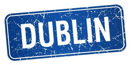 dublin: Dublin blue stamp isolated on white background