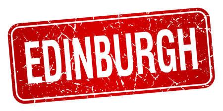 edinburgh: Edinburgh roten Stempel isoliert auf wei�em Hintergrund Illustration