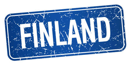 on white background: Finland blue stamp isolated on white background