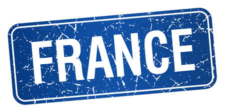france stamp: France blue stamp isolated on white background Illustration