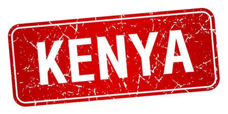 red stamp: Kenya red stamp isolated on white background Illustration