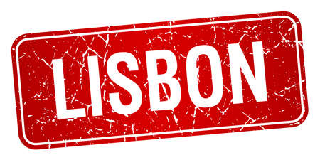 lisbon: Lisbon red stamp isolated on white background