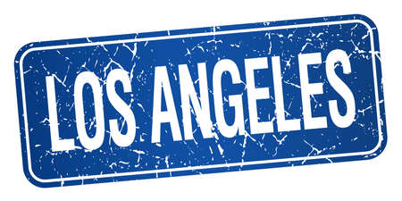 los: Los Angeles blue stamp isolated on white background