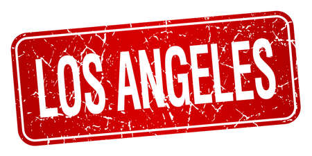 los angeles: Los Angeles red stamp isolated on white background