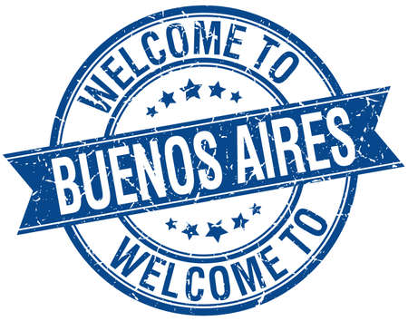 aires: welcome to Buenos Aires blue round ribbon stamp