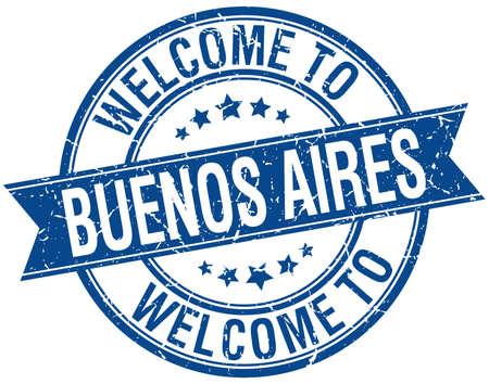 buenos aires: Willkommen in Buenos Aires blauen runden Band Briefmarke