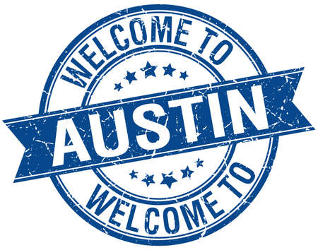 austin: welcome to Austin blue round ribbon stamp Illustration