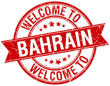 bahrain: welcome to Bahrain red round ribbon stamp