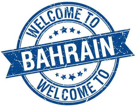 bahrain: welcome to Bahrain blue round ribbon stamp