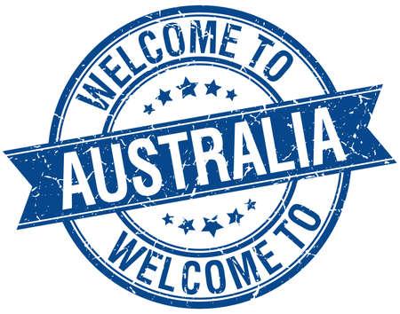australia stamp: welcome to Australia blue round ribbon stamp