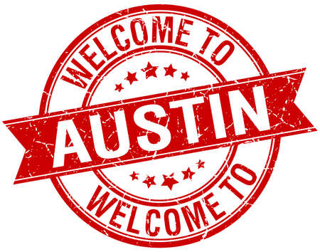 austin: welcome to Austin red round ribbon stamp Illustration
