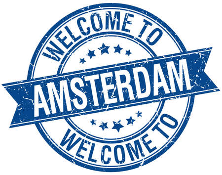 welcome to Amsterdam blue round ribbon stamp Vector