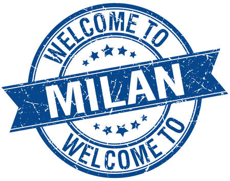 milan: welcome to Milan blue round ribbon stamp