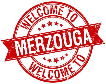 merzouga: welcome to Merzouga red round ribbon stamp Illustration
