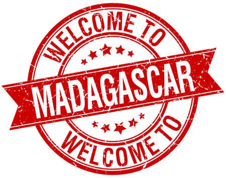 madagascar: welcome to Madagascar red round ribbon stamp