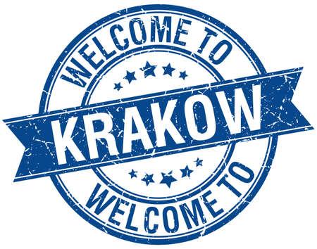 krakow: welcome to Krakow blue round ribbon stamp