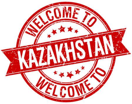 kazakhstan: welcome to Kazakhstan red round ribbon stamp