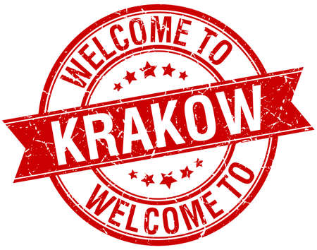 krakow: welcome to Krakow red round ribbon stamp Illustration