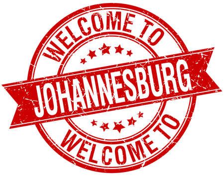 welcome to Johannesburg red round ribbon stamp Illustration
