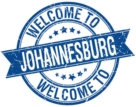 welcome to Johannesburg blue round ribbon stamp