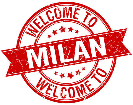 milan: welcome to Milan red round ribbon stamp Illustration