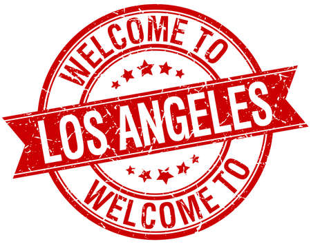 los angeles: welcome to Los Angeles red round ribbon stamp Illustration