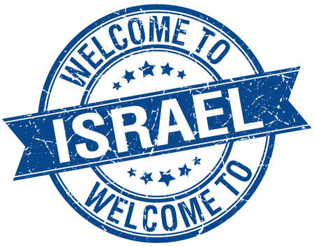 welcome to Israel blue round ribbon stamp