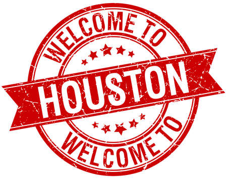 houston: welcome to Houston red round ribbon stamp