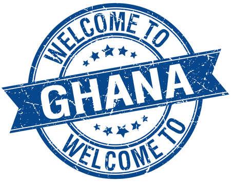 Ghana: welcome to Ghana blue round ribbon stamp