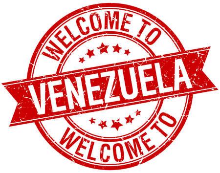 venezuela: welcome to Venezuela red round ribbon stamp Illustration