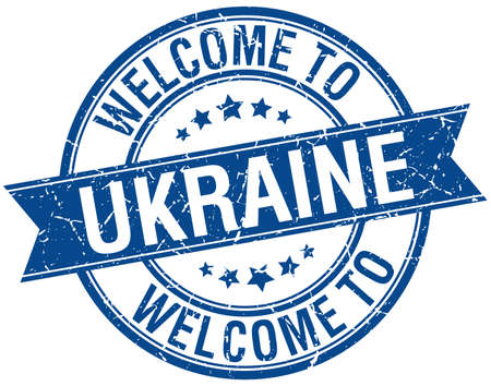 emblem of ukraine: welcome to Ukraine blue round ribbon stamp