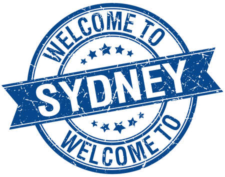 welcome to Sydney blue round ribbon stamp
