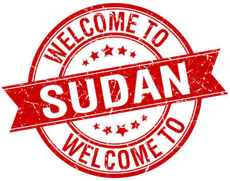 sudan: welcome to Sudan red round ribbon stamp Illustration