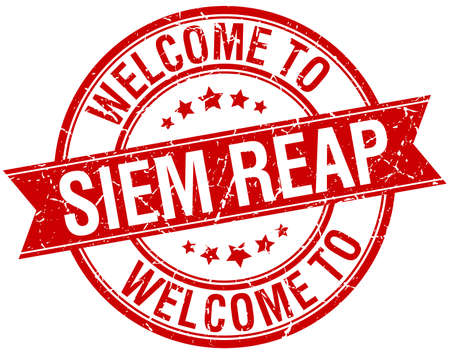 reap: welcome to Siem Reap red round ribbon stamp